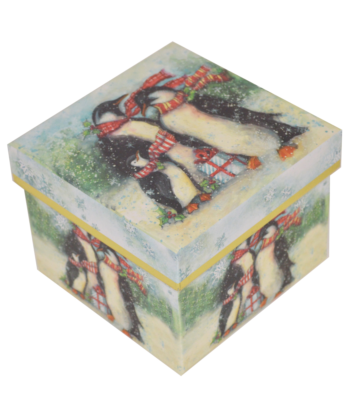 Maker\u0027s Holiday Small Square Storage Box-Penguin