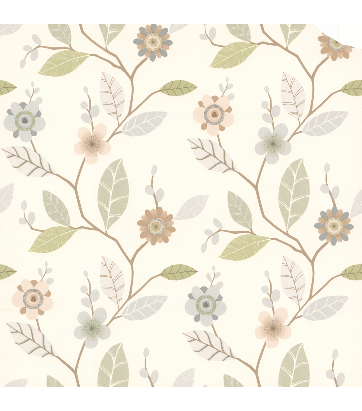 Claudia Light Blue Retro Blossom  Wallpaper Sample