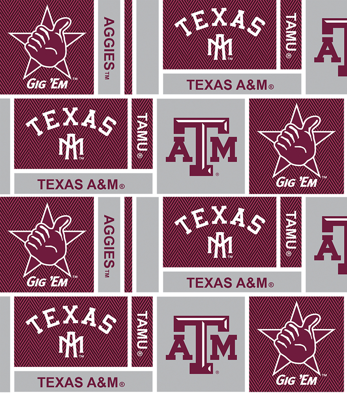 Texas A&M University Aggies Cotton Fabric 44\u0022-Herringbone Box