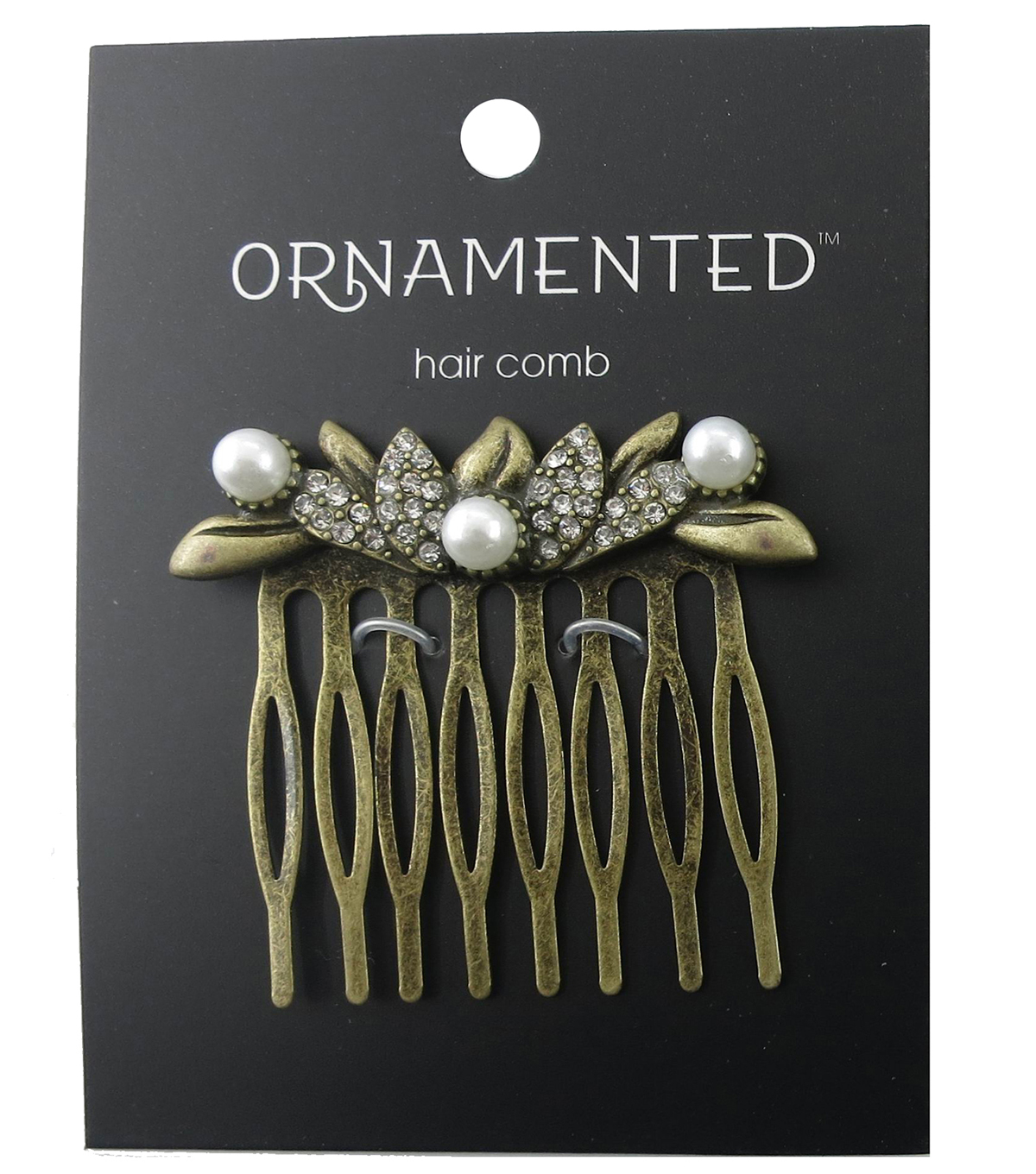 hildie & jo™ Ornamented Antique Gold Hair Comb-Pearls & Crystals