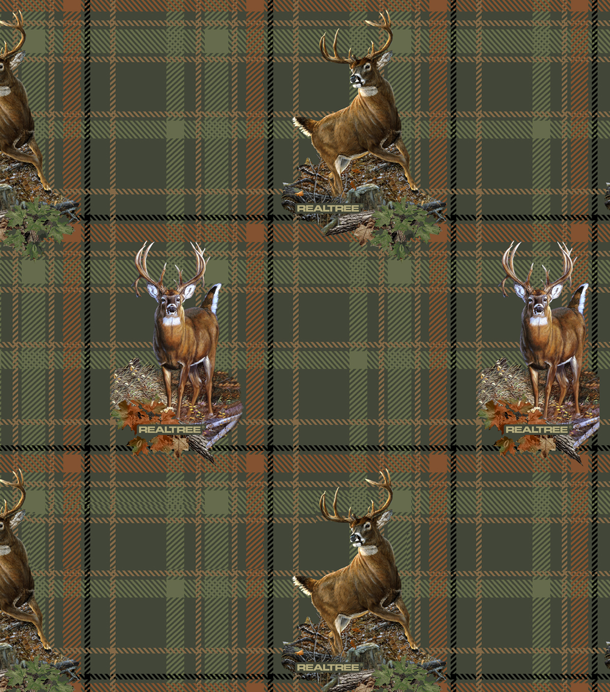 Realtree Moose Plaid Allover Cotton Fabric