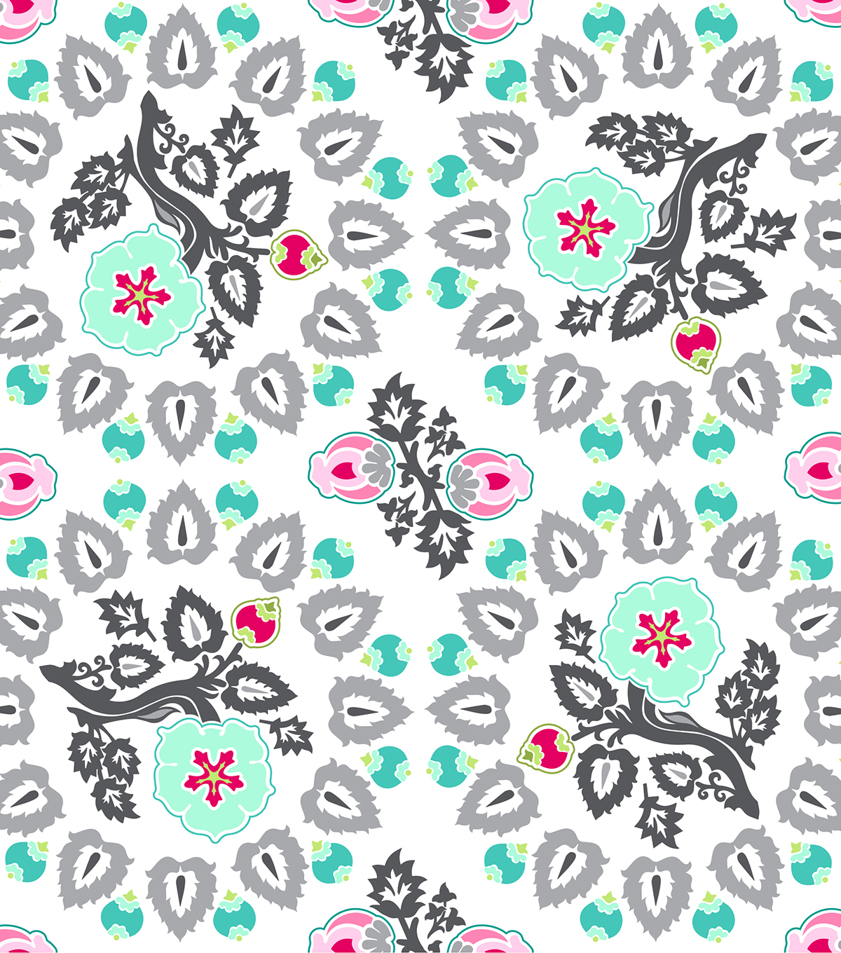Modkid Studio by Patty Young Cotton Fabric 43\u0022-Pressed Flowers Gray