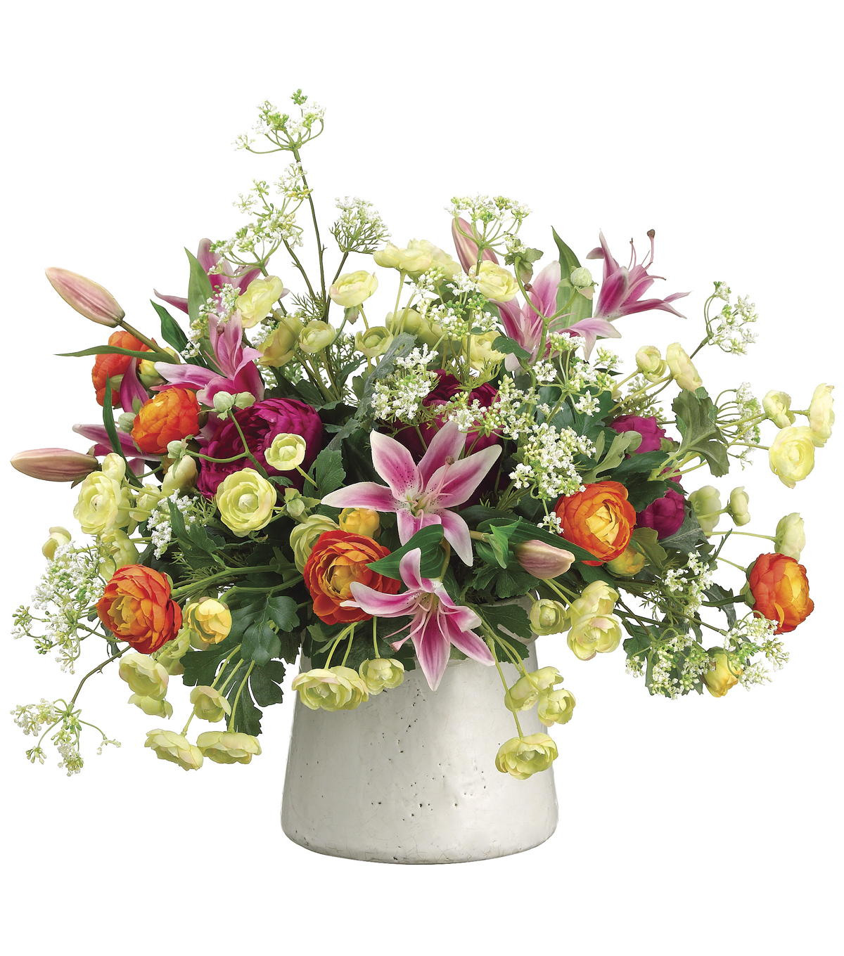 Bloom Room Luxe 22\u0027\u0027 Ranunculus, Lily & Dill In Stoneware