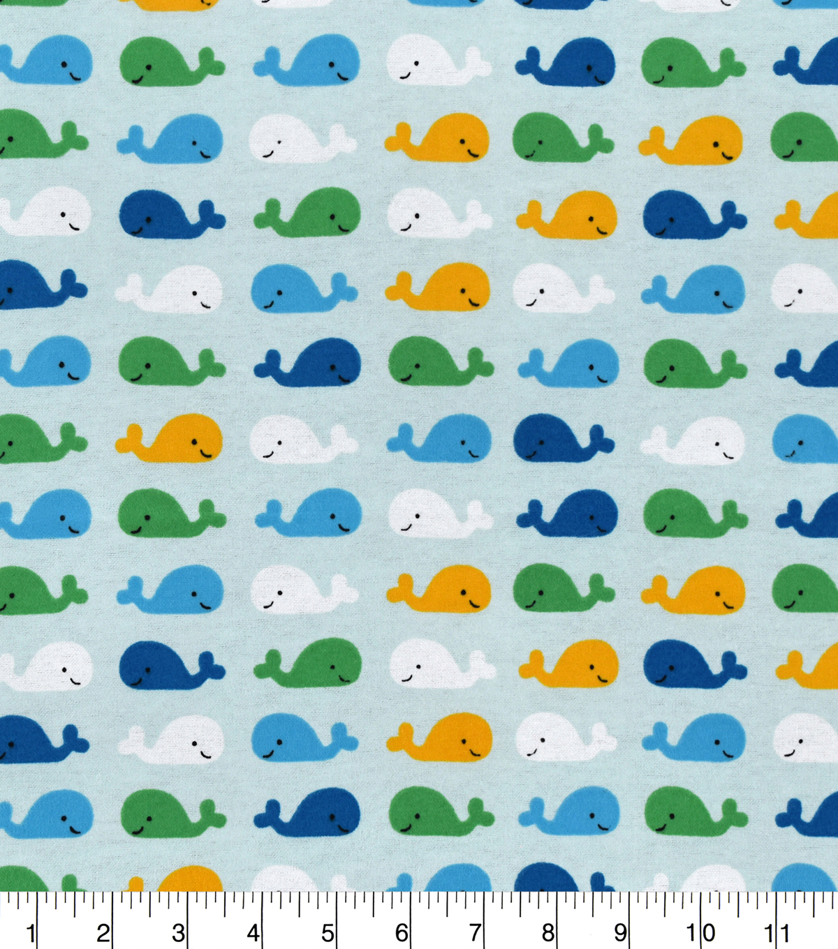 Snuggle Flannel Fabric 43\u0027\u0027-Happy Whales