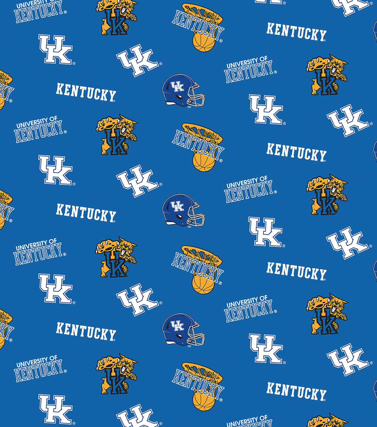 "University of Kentucky Wildcats Cotton Fabric 43""-Blue All Over"