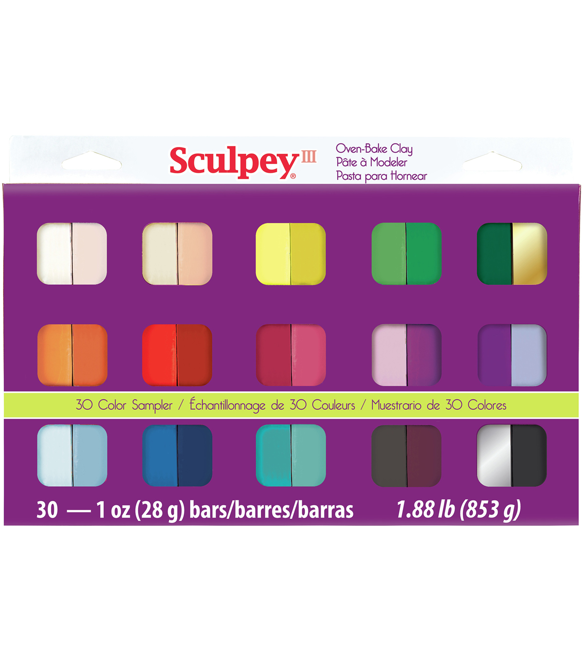 Sculpey III Oven-Bake Clay 1oz 30/Pkg-Assorted Colors