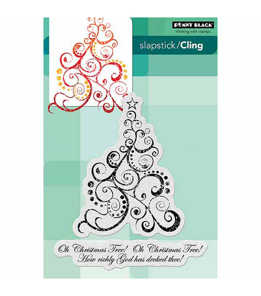 "Penny Black Cling Rubber Stamp 5""X7.5"" Sheet-Oh Christmas Tree"