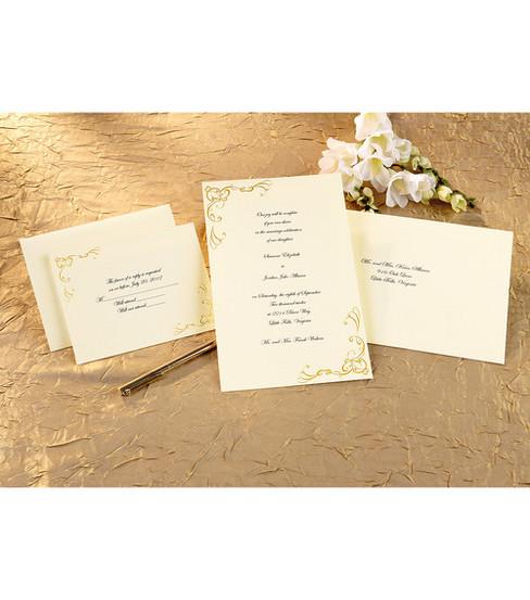 wilton® 50 ct. gold scroll work invitation kit | joann, Wedding invitations