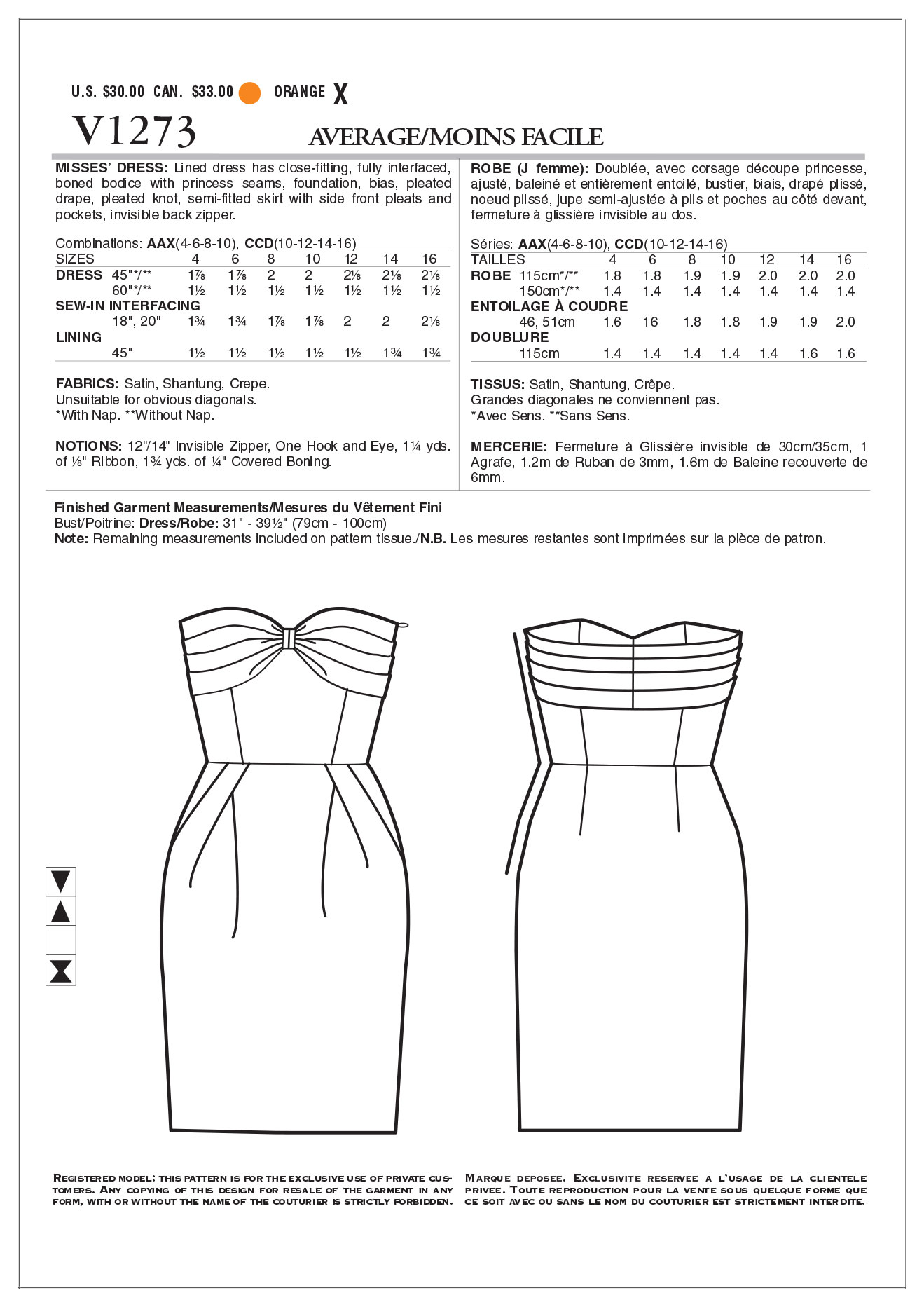 Mccall Pattern V1273 Aax (4-6-8-Vogue Pattern