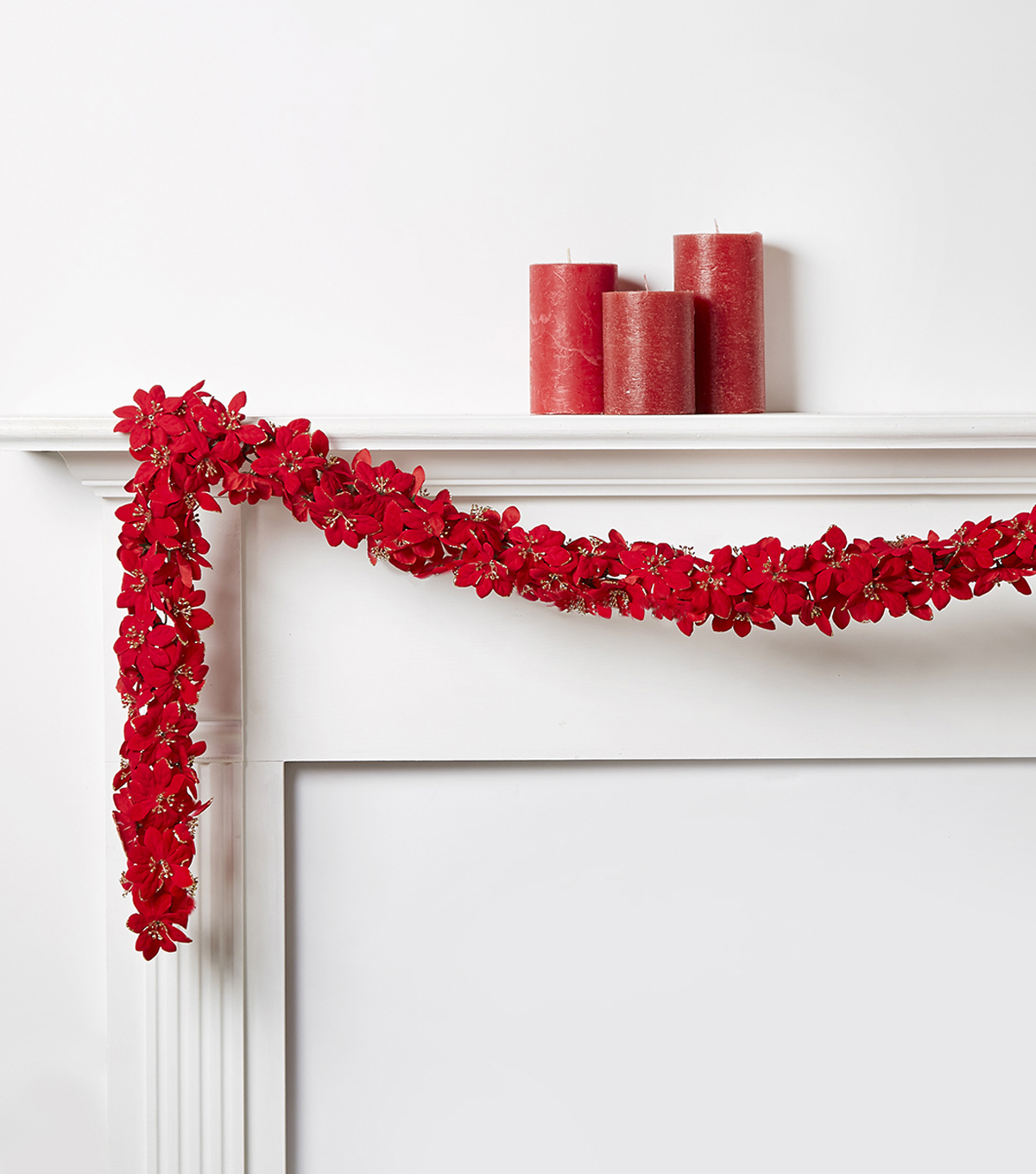 Blooming Holiday Chain Poinsettia Garland