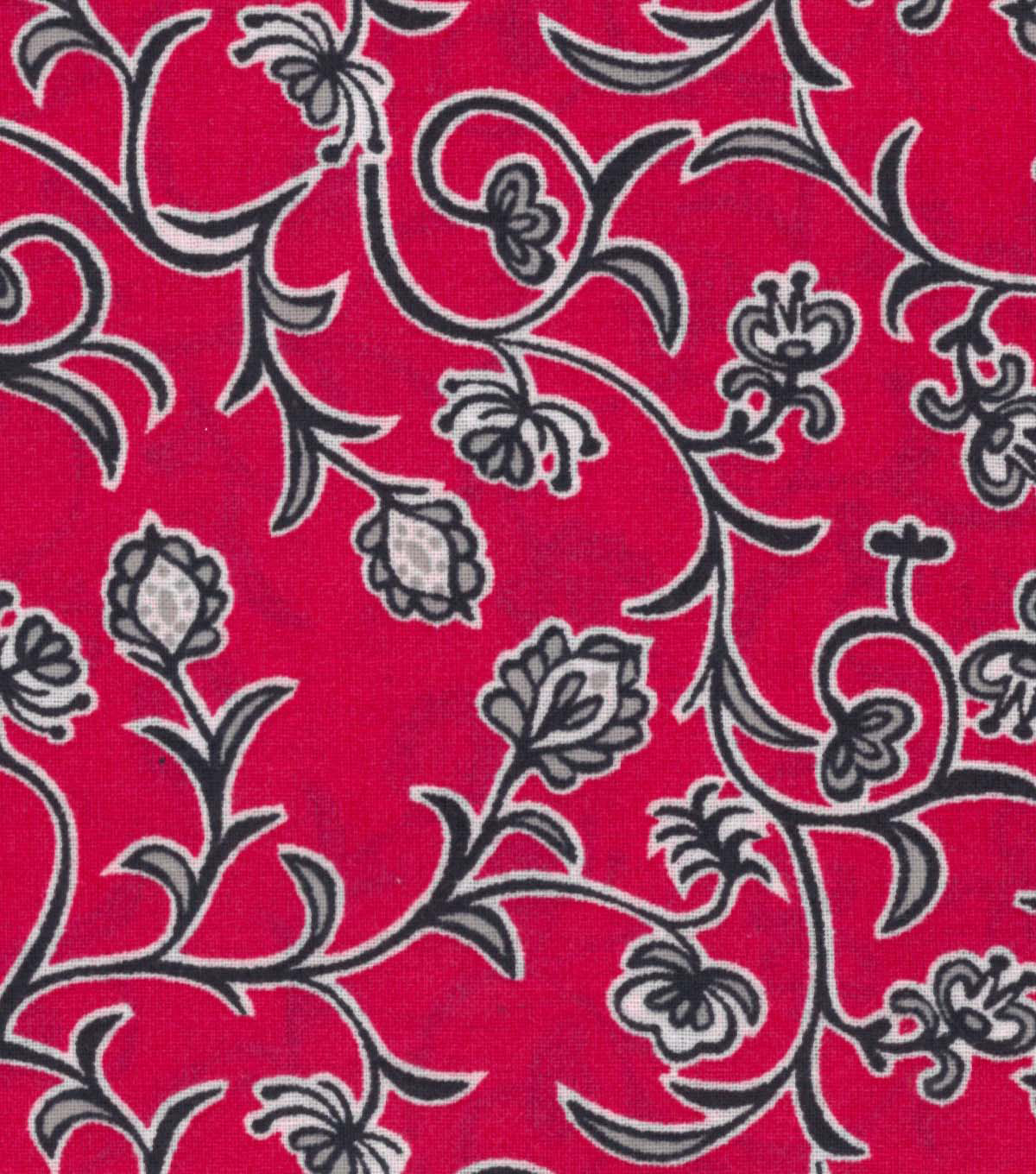 Quilter\u0027s Showcase™ Fabric 43\u0027\u0027-Navy Floral Vines on Raspberry