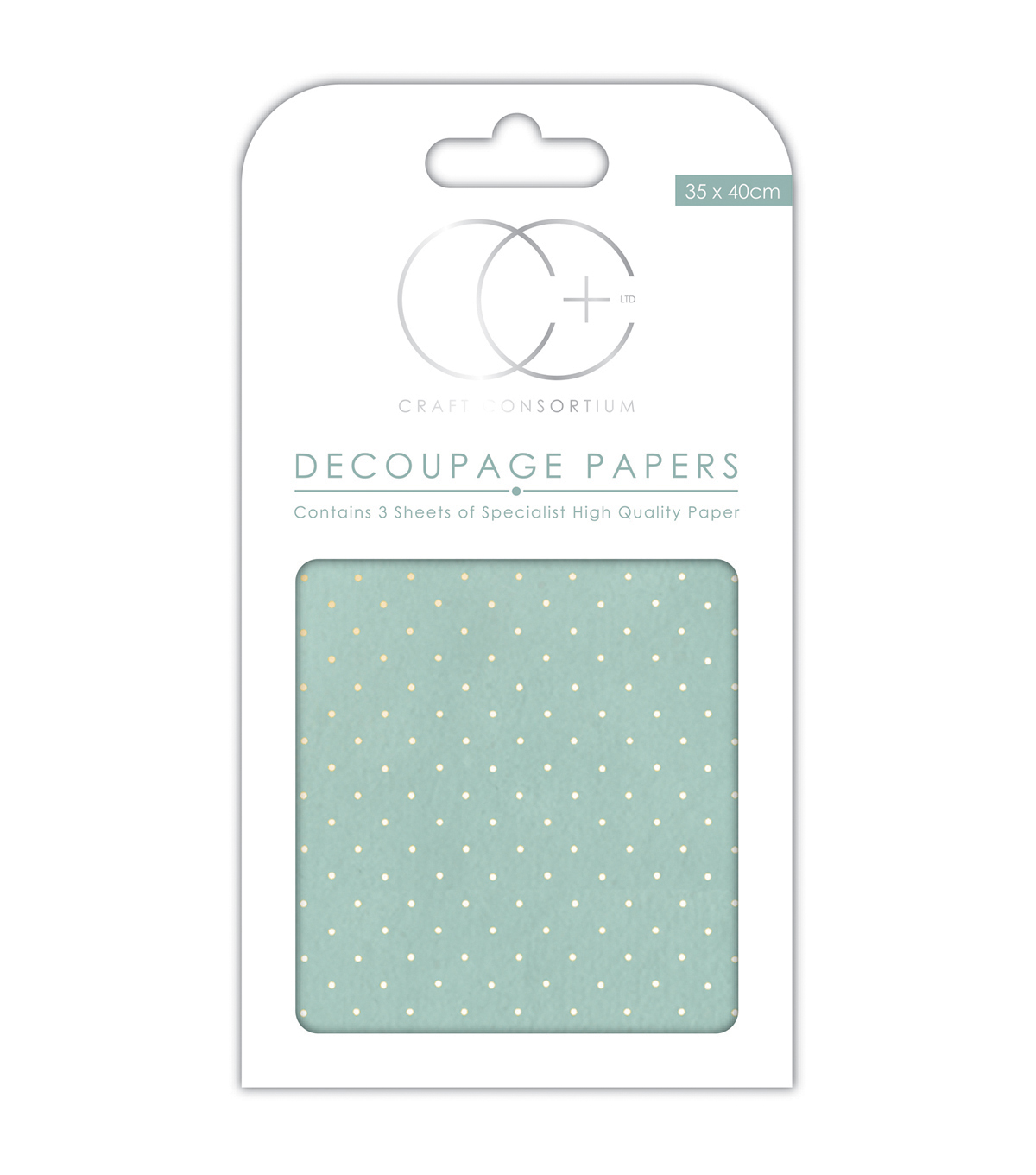 Craft Consortium 3pcs Decoupage Papers-Textured Blue With Gold Dot