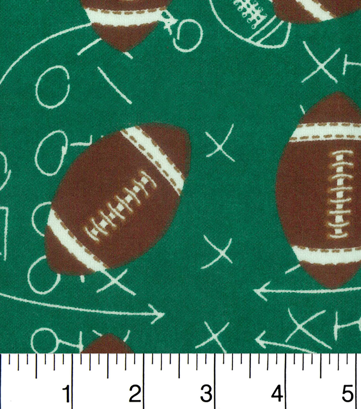 "Snuggle Flannel Fabric 42""-Footballs On Green"