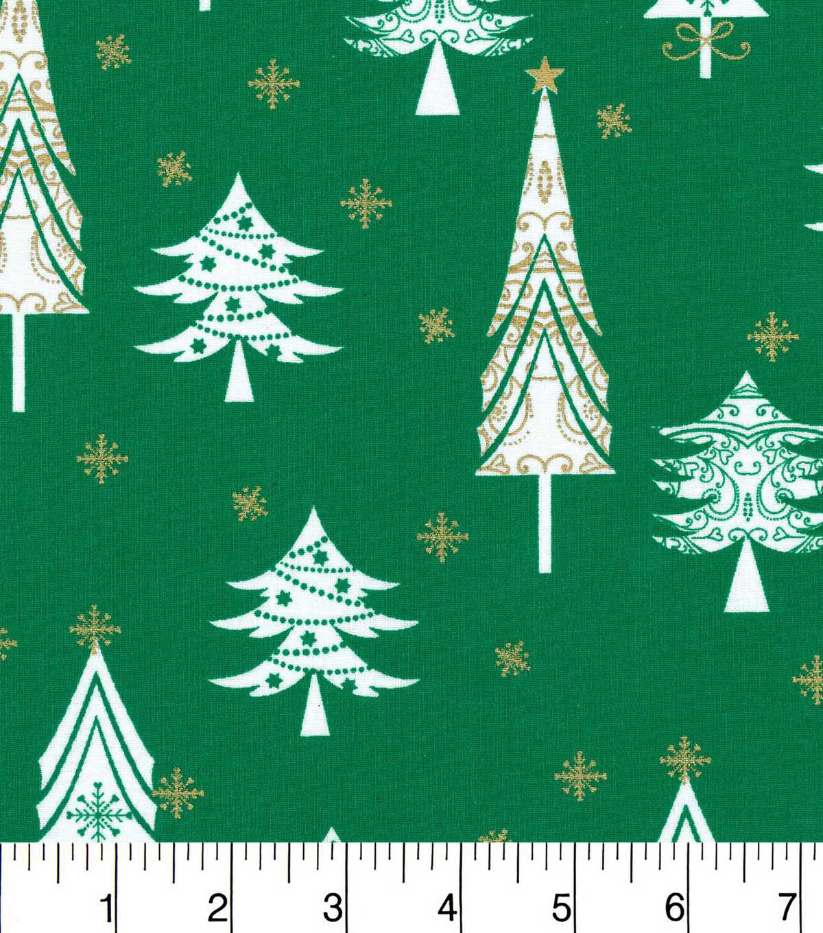 Keepsake Calico Christmas Cotton Fabric-Whimsical Trees On Green