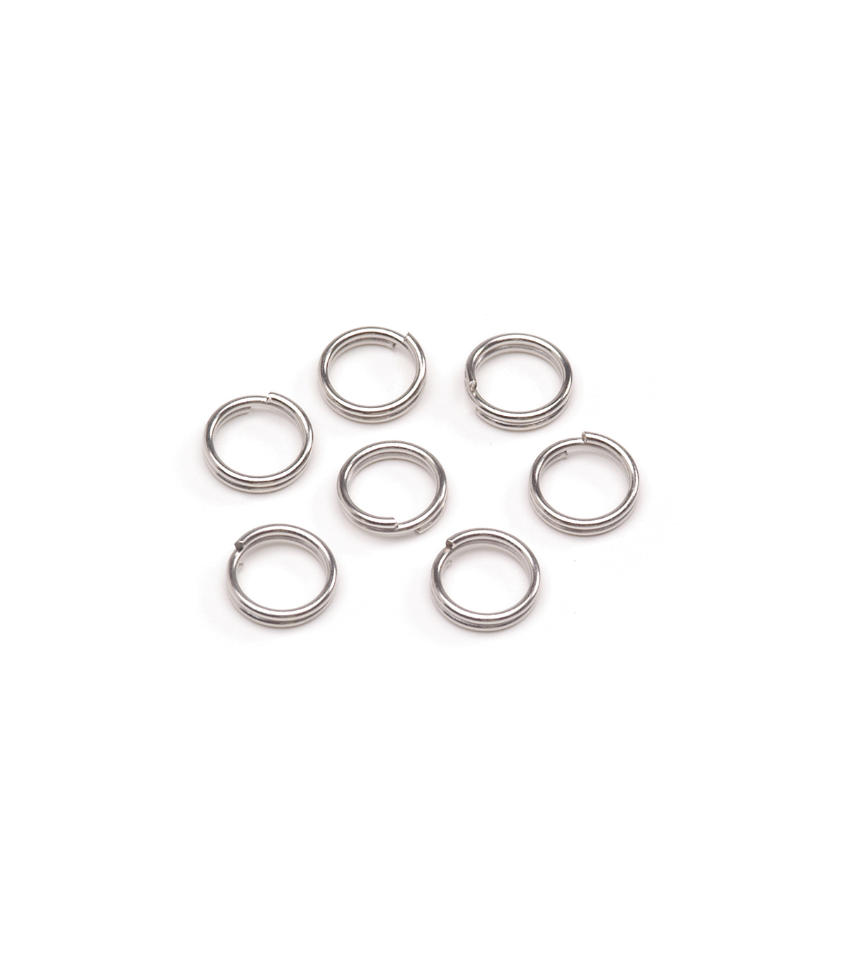 6mm Brass Double Rings, Nickel, 10pc/pkg