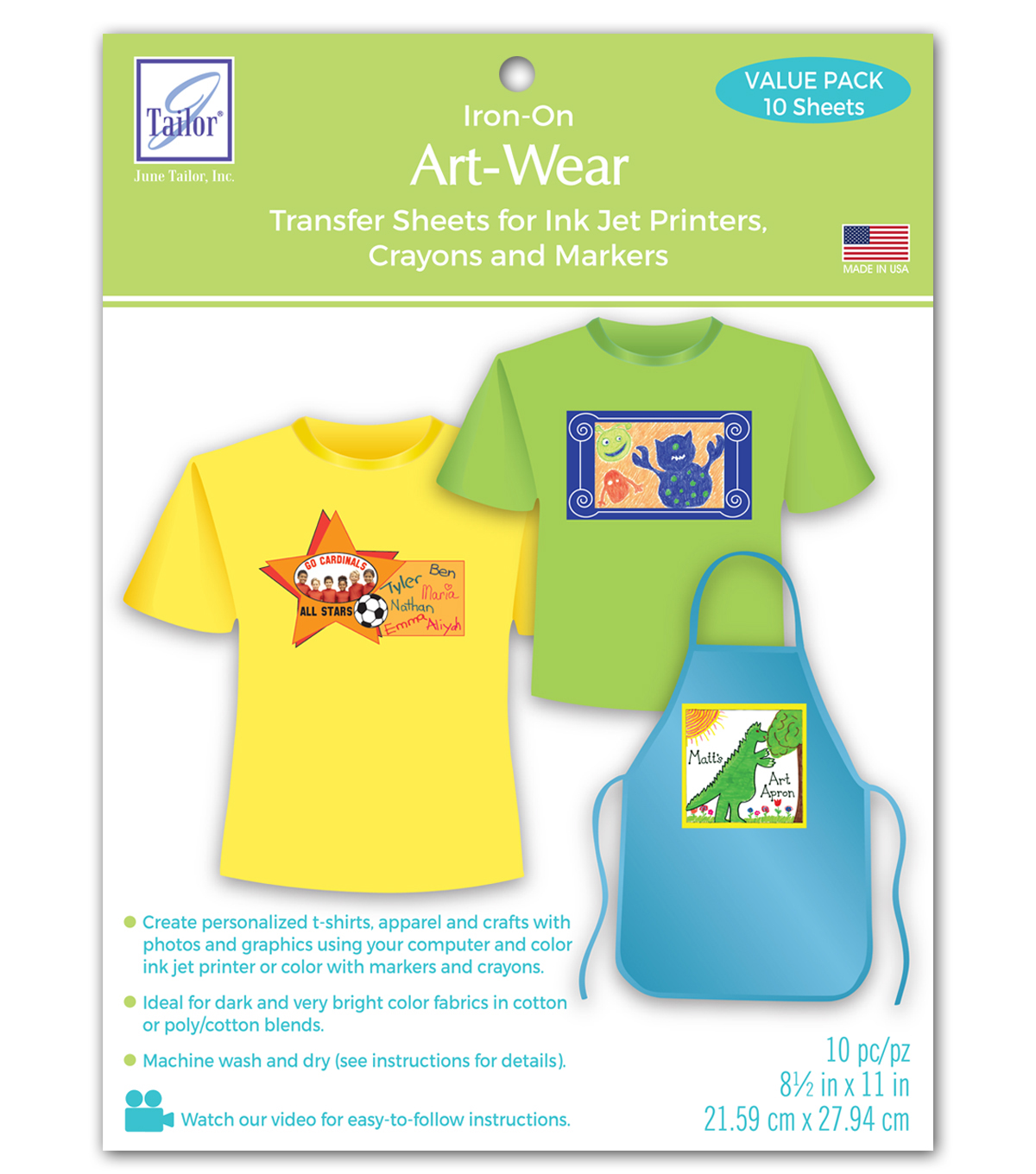 Iron On Art-Wear Transfer Sheets for Inkjet Printers Value Pack