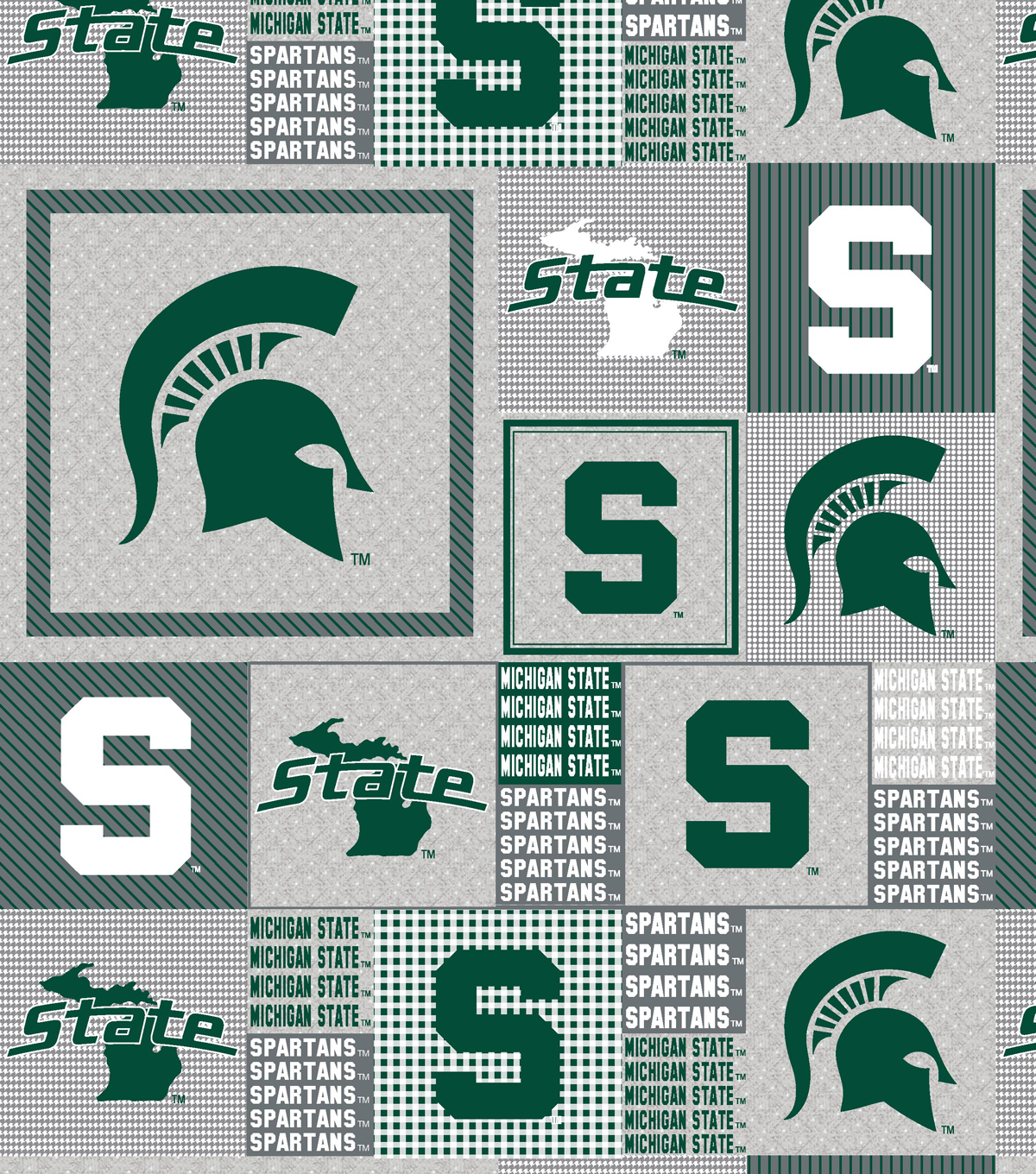 Michigan State University Spartans Fleece Fabric 60\u0022-Gray Box