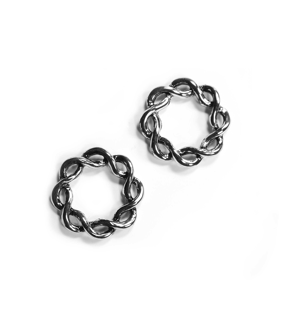 Blue Moon Findings Connector Metal 18mm Woven Antique Silver