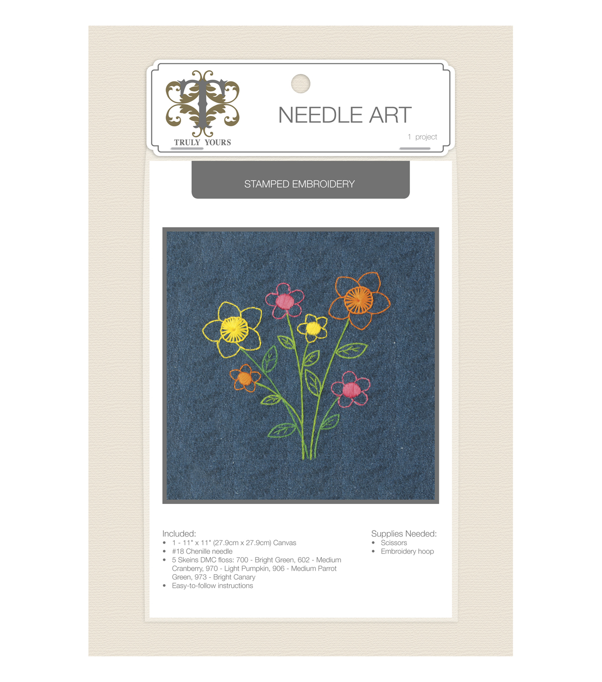 Truly Yours™ Needle Art Stamped Embroidery Kit- Bouquet