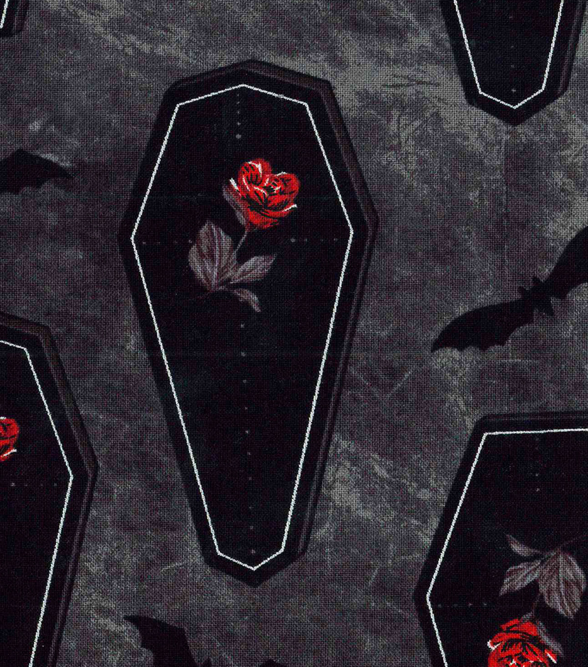 Halloween Cotton Fabric 43\u0022-Rose Coffins