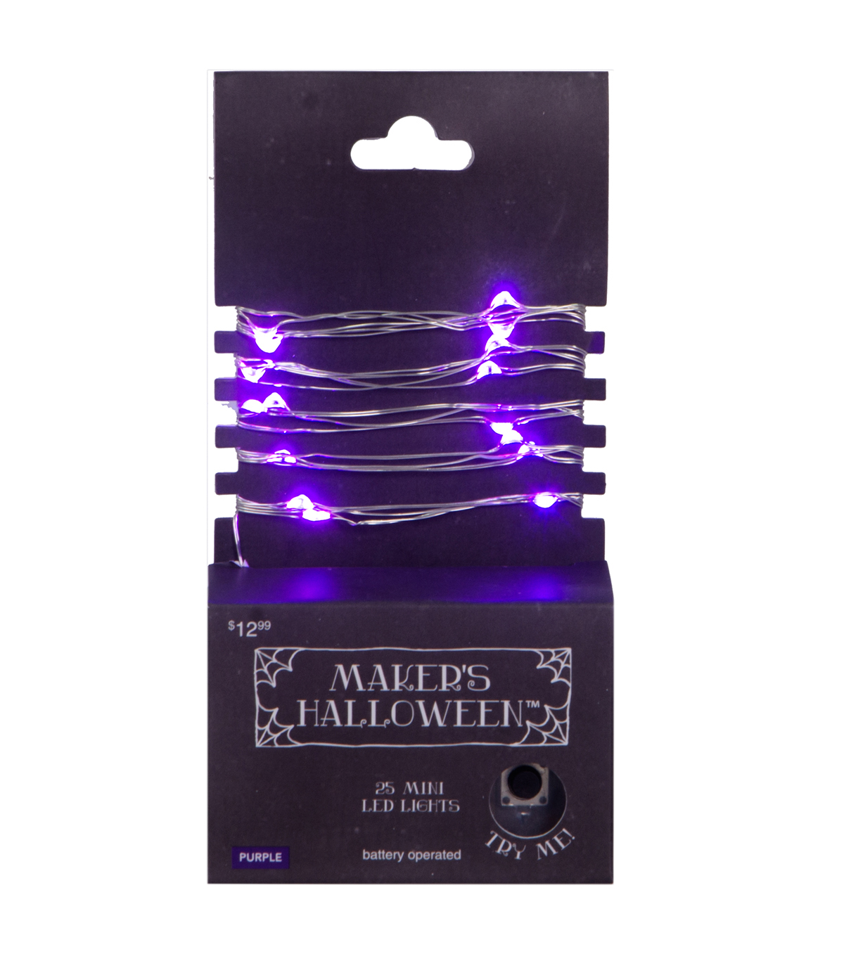 Maker\u0027s Halloween 25 Count Purple LED Lights with Silver Wire
