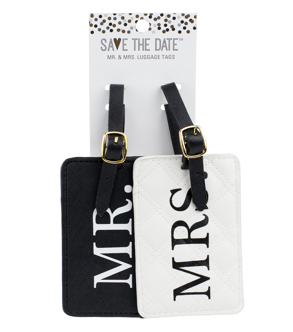 Save the Date Mr. & Mrs. Luggage Tags-Black & White