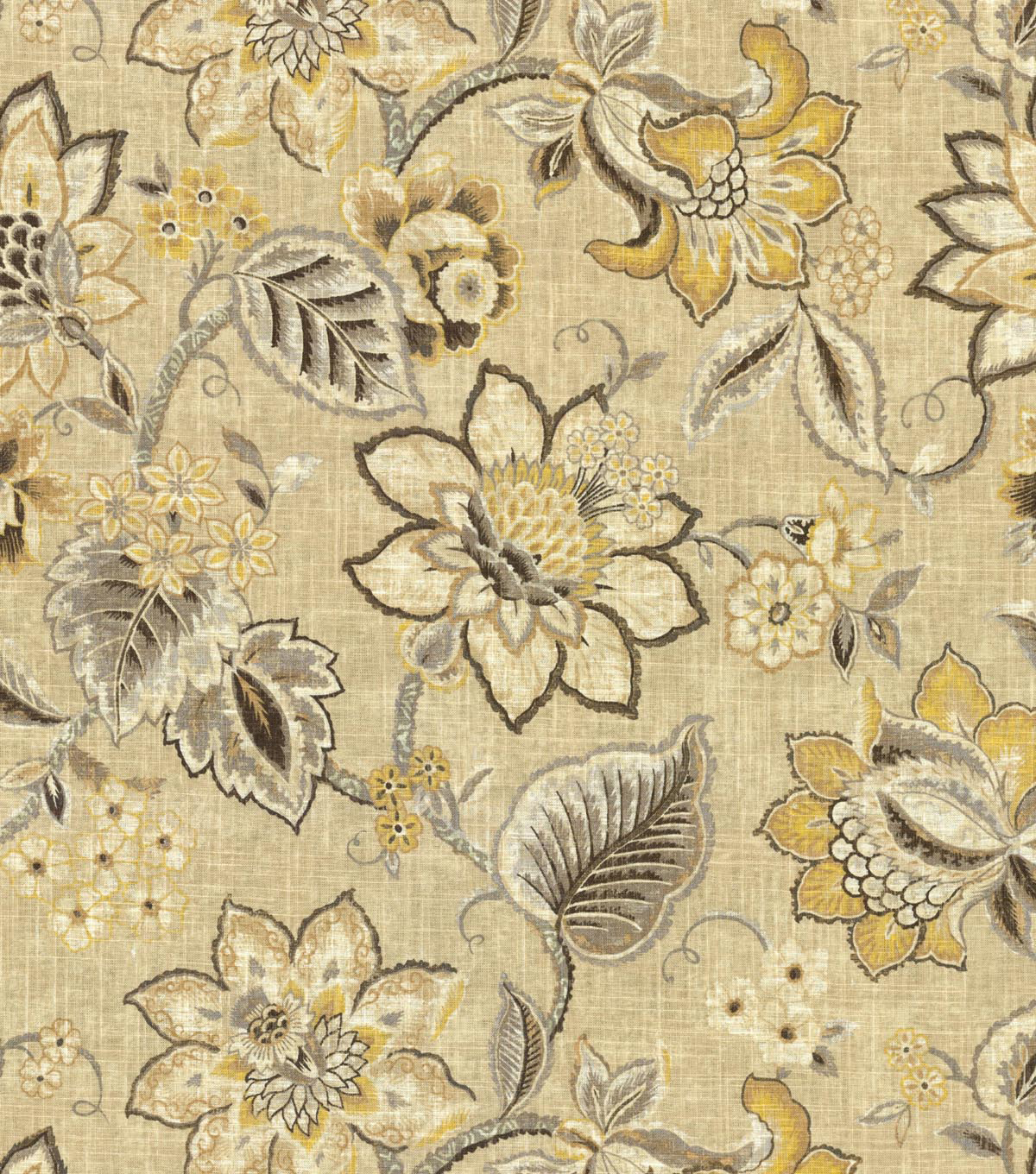 Waverly Upholstery Fabric 54\u0022-Floral Fresh Flax