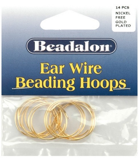 Beadalon 20mm Small Ear Wire Beading Hoops-14PK/Gold Plated