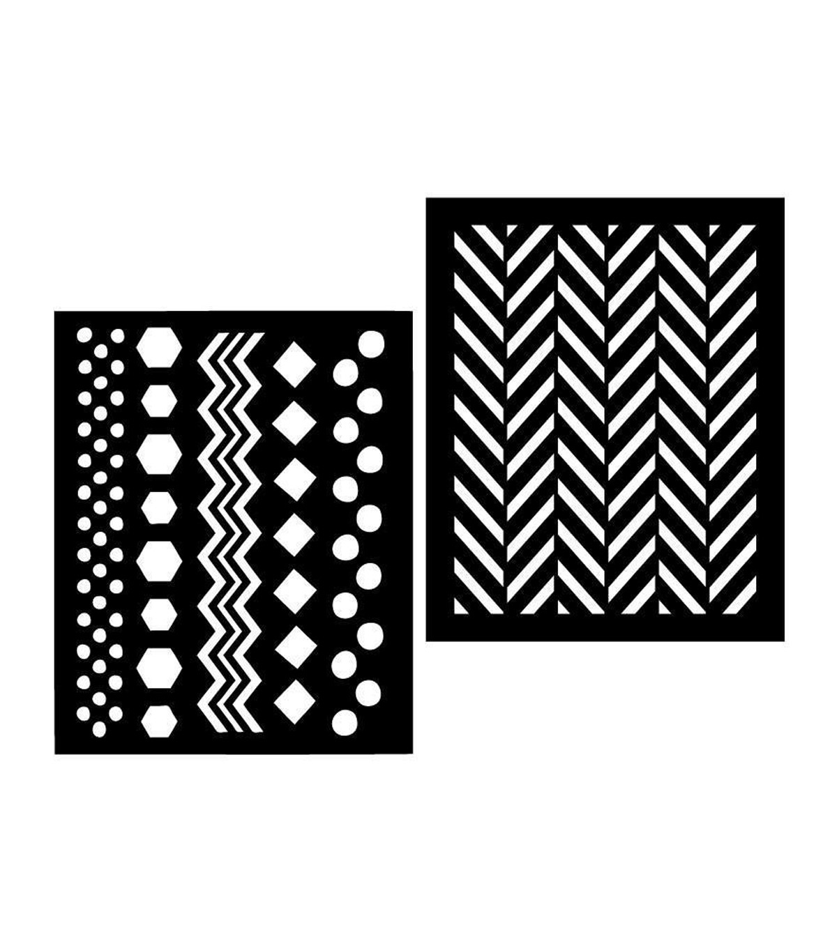 "Hero Arts Stencils 6.25""X5.25"" 2/Pkg-Chevron"