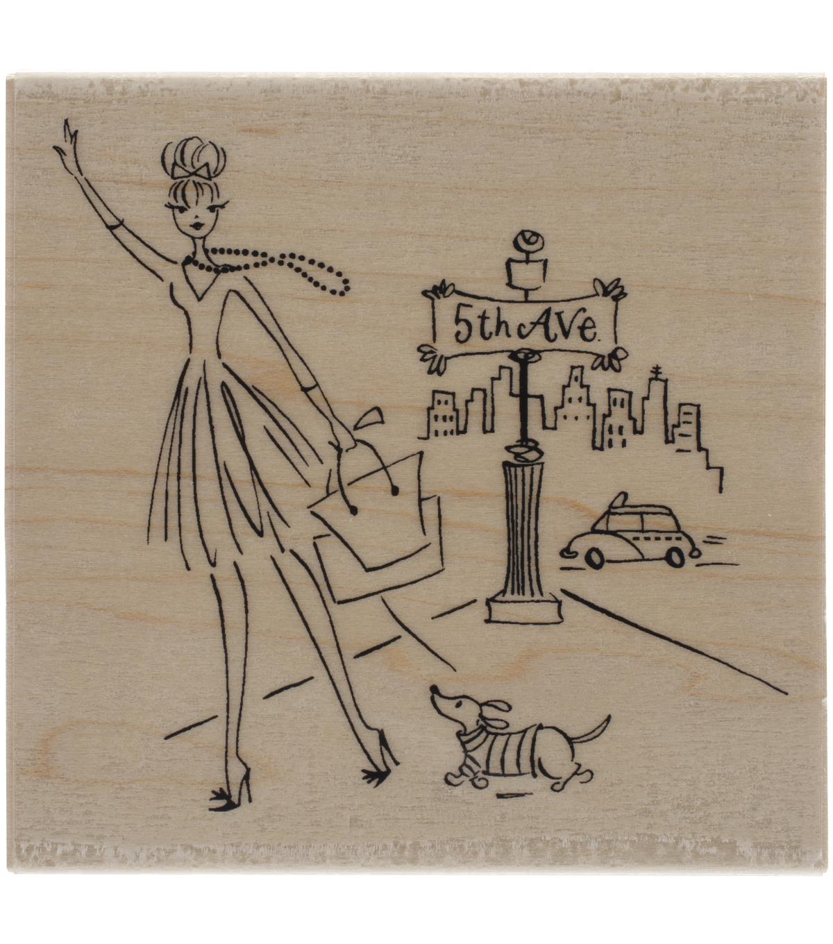 Penny Black 5th Ave Mounted Rubber Stamp 4''x4''