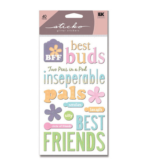 EK Success Sticko Glitter Stickers-Friendship