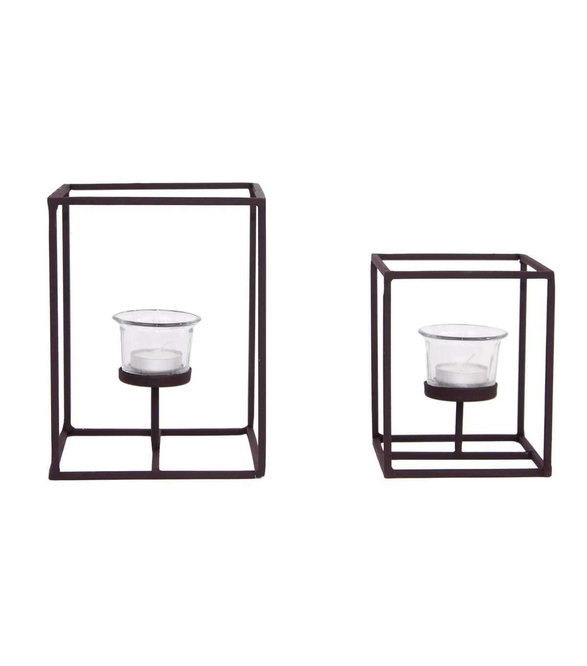 Set of 2 Metal Tealight Holders with Clear Glass