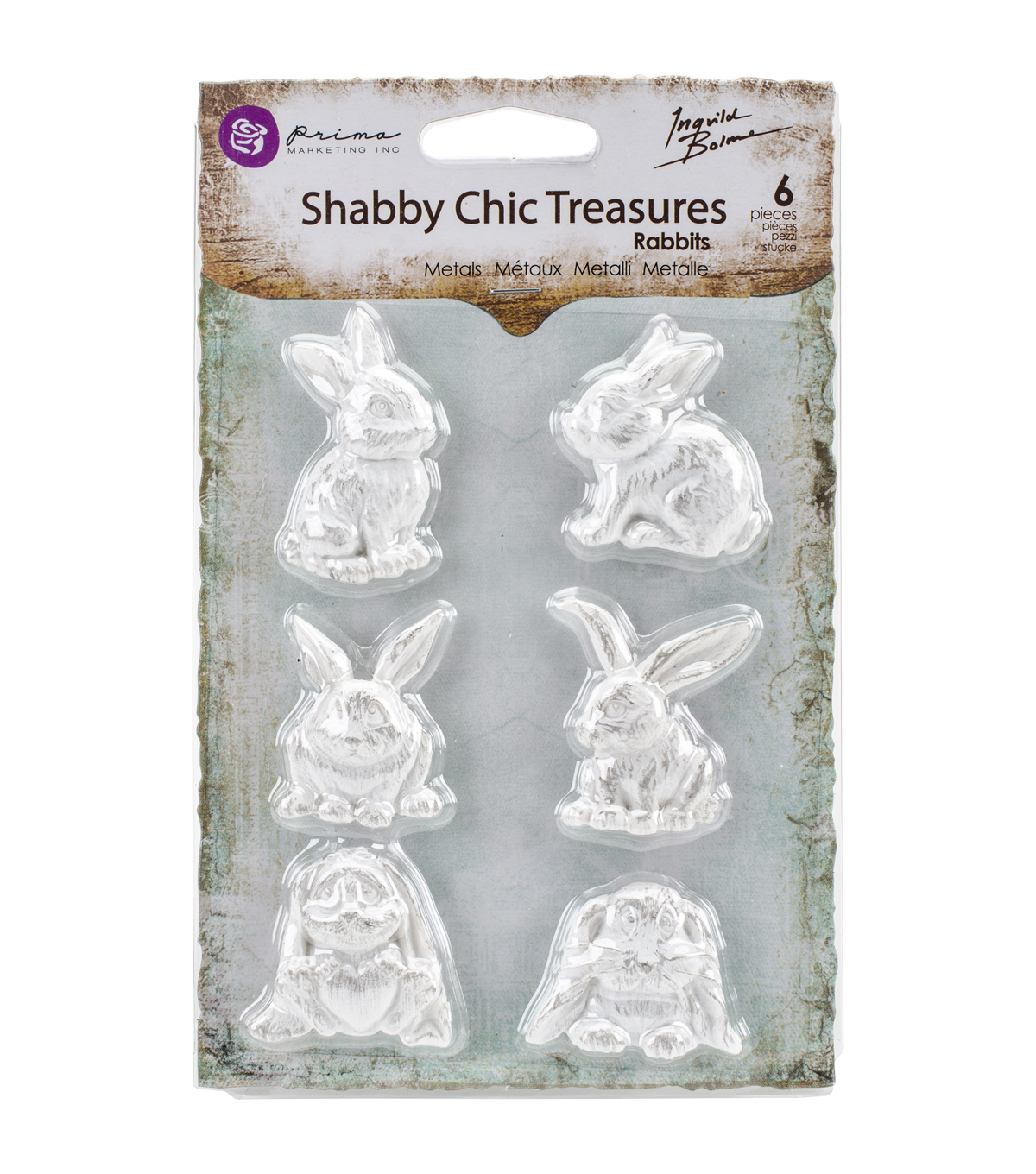 Prima Marketing Shabby Chic Treasures Resin Rabbits Embellishments