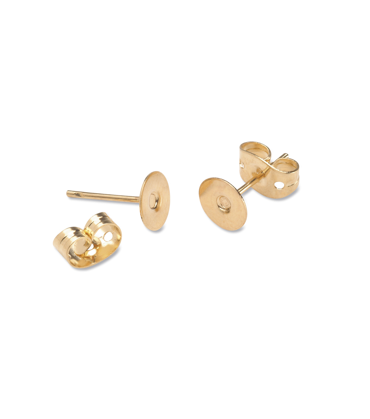 Brass Earring Post with 6mm Pad, Gold