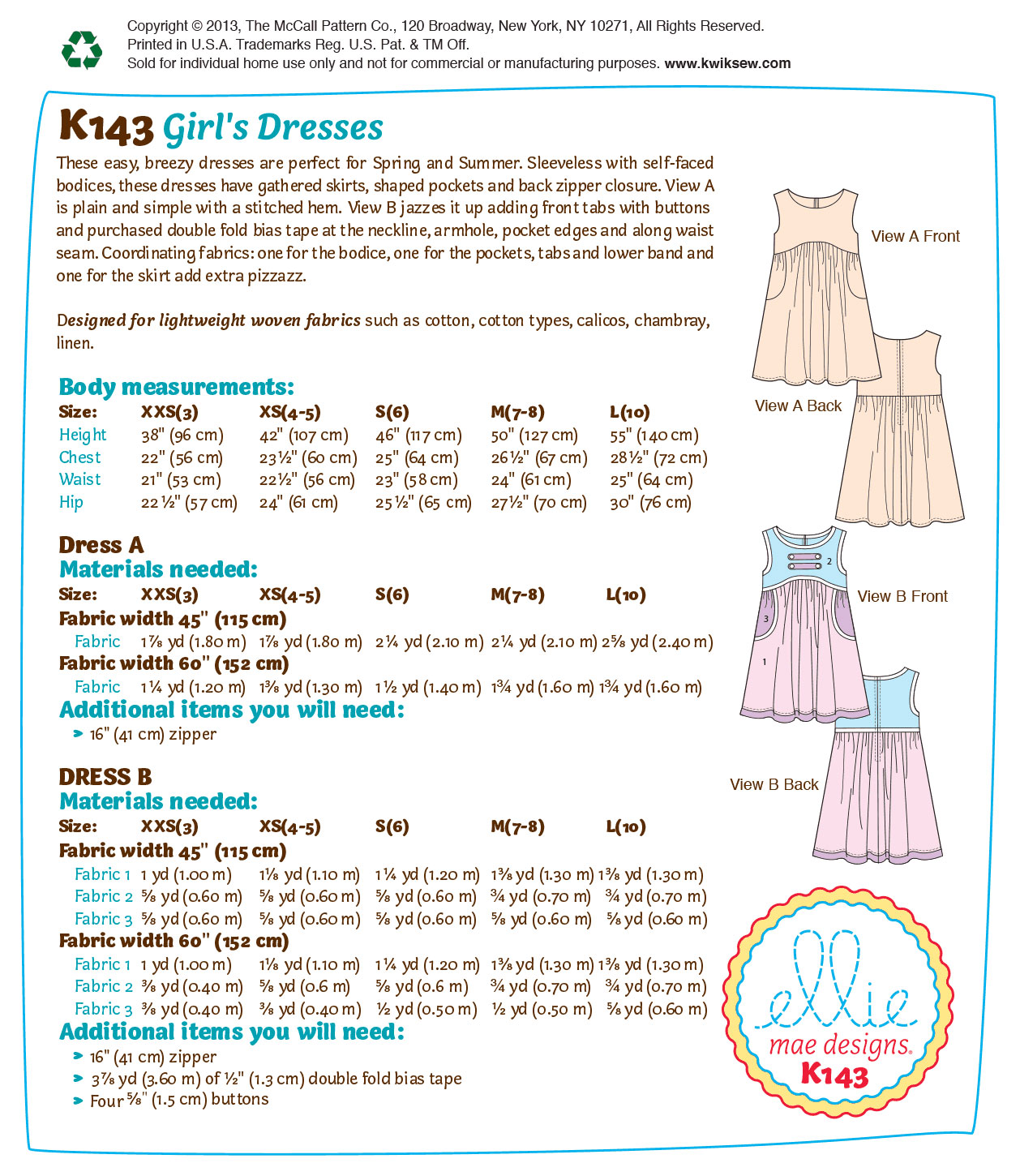 Kwik Sew Child Dress-K0143
