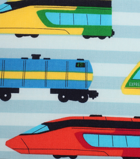 "Novelty Cotton Fabric 43""-Multi Color Trains"