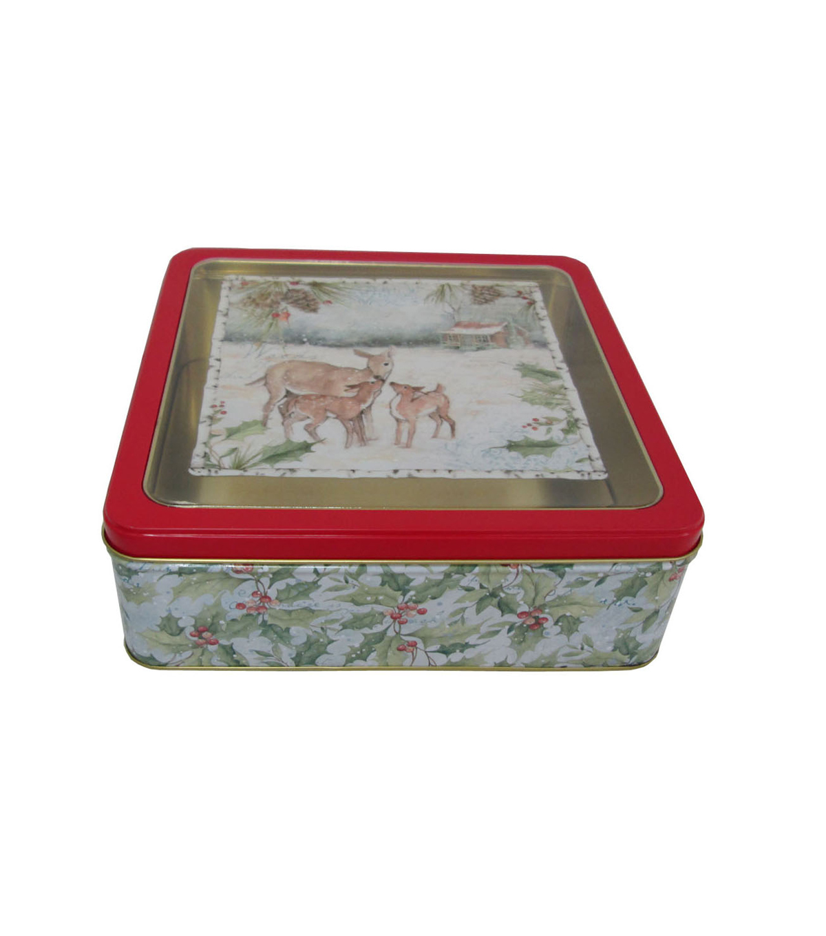 Maker\u0027s Holiday Christmas Large Square Clear Top Cookie Tin-Deer