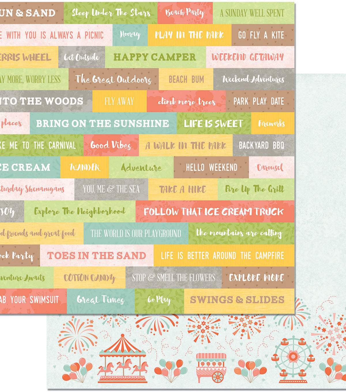 Weekend Adventures Double-Sided Cardstock 12\u0022X12\u0022-Good Vibes