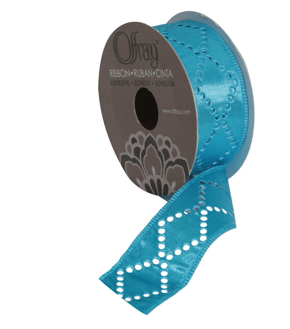 Offray 1 1/8\u0022 x 9\u0027 Die Cut Diamond Ribbon-Teal