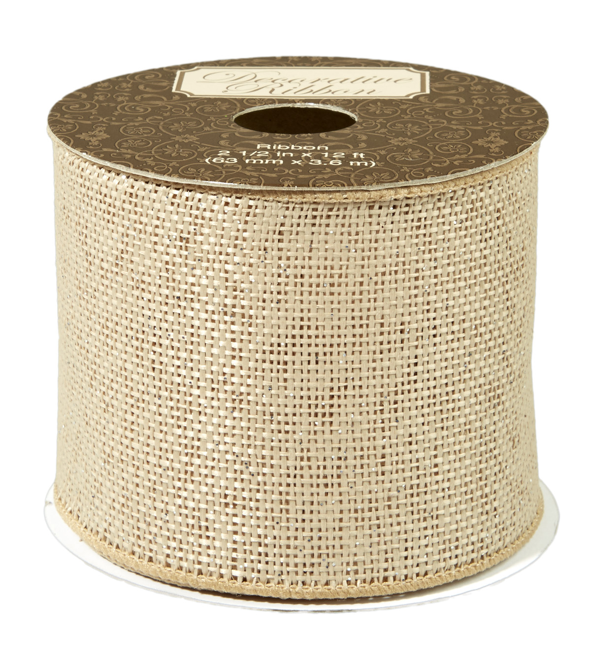 Natural Burlap Ribbon with Metallic Overlay 2-1/2 inch