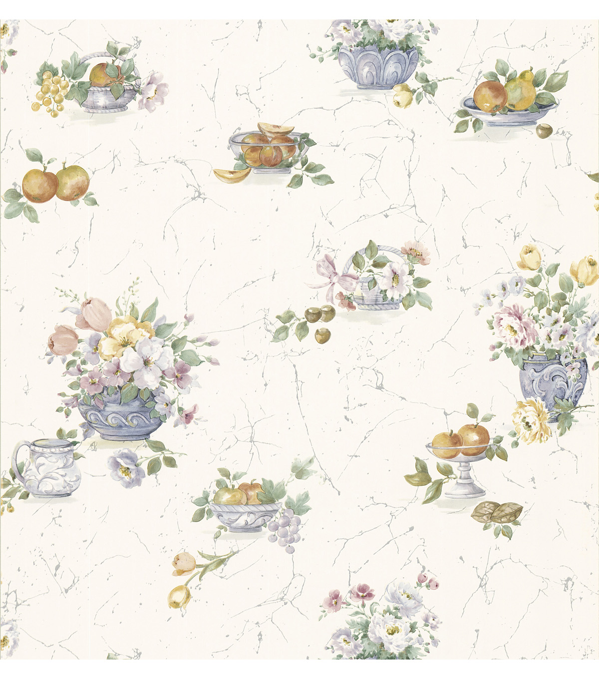 Milena Violet Floral And Fruit Wallpaper Sample