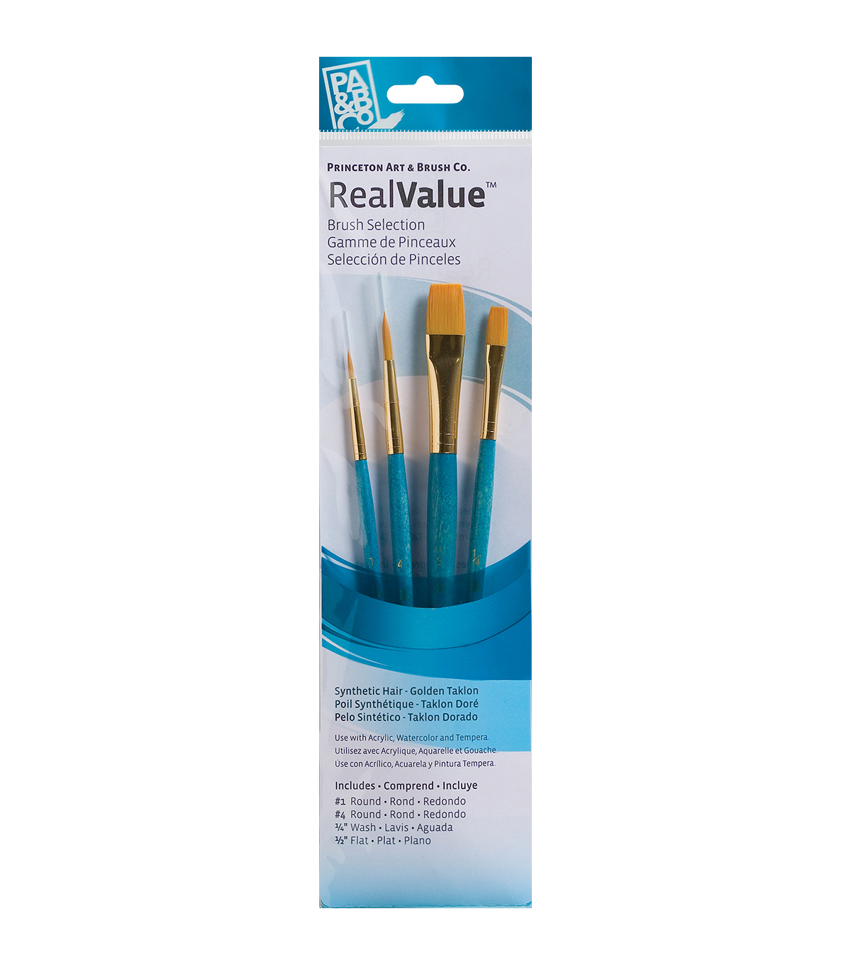 Real Value Brush Set Synthetic Gold Taklon-Round 1,4, Wash 1/4, Flat 1/2