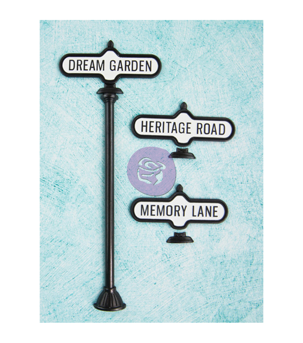 Prima Marketing Shabby Chic Metal Treasures Antique Street Signs