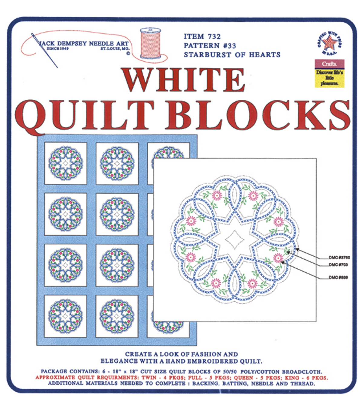 Stamped White Quilt Blocks 18\u0022X18\u0022 6/Pkg-Starburst Of Hearts