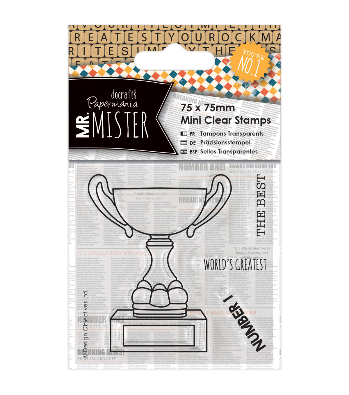Papermania Mr. Mister Mini Clear Stamps-Trophy