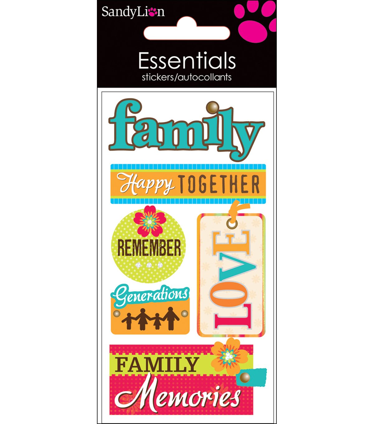 Essentials Dimensional Stickers 2.25\u0022X5\u0022 Sheet-Family Memories