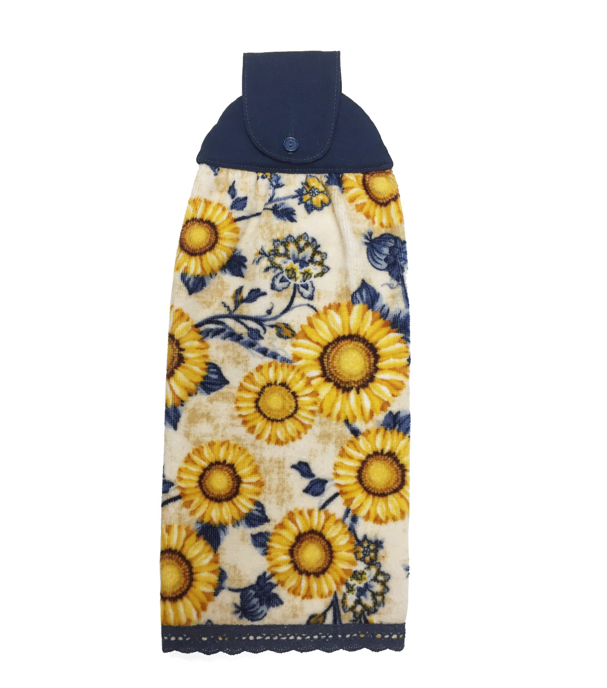 Fall Into Color 16''x28'' Velour & Terry Hand Towel-Sunflower Granny