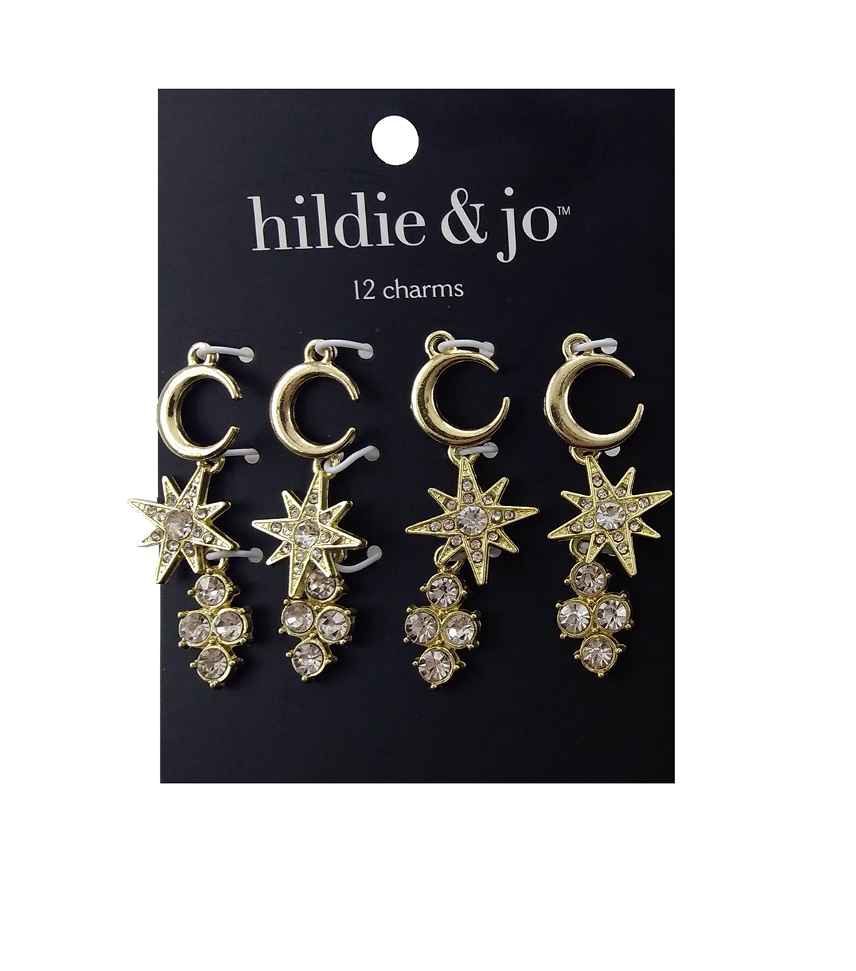 hildie & jo™ Boulevard 12 Pack Moon & Star Gold Charms-Crystals