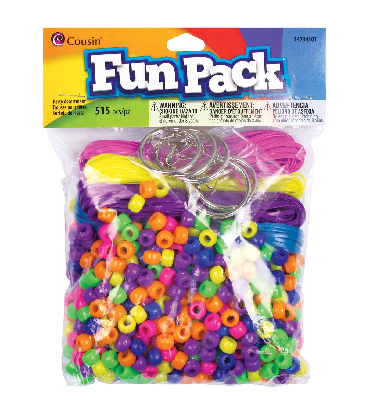 Fun Pack Pony Bead Party Pack 515/Pkg-Neon
