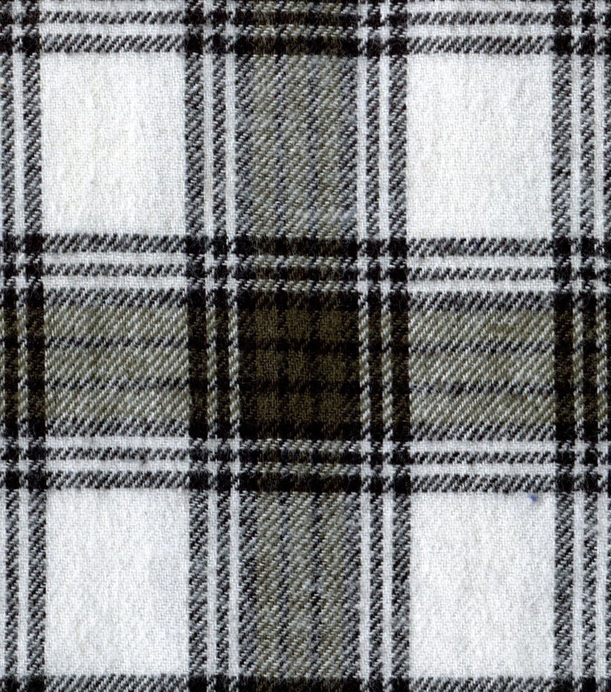 "Flannel Shirting Fabric 41""-White Green"